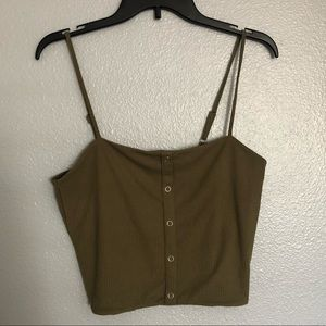 Green cropped camisole
